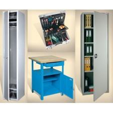 Метални гардероби, шкафове, маси, кутии, държачи